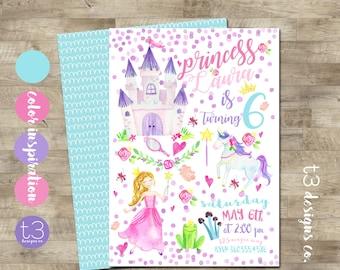 Magical Princess Birthday Invitation, Princess Birthday Invitation, Princess Birthday Invite, Watercolor Princess, Girl Birthday Invitation