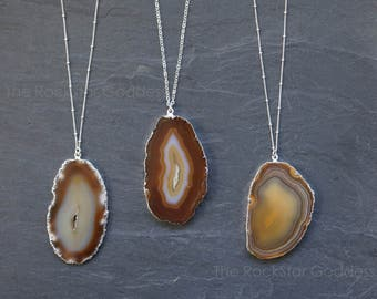 Sliced Agate // Geode Necklace // Agate Necklace // Natural Agate  //  Druzy Necklace //  Druzy Jewelry //  Agate Slice // Custom Length