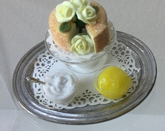 "Dollhouse Miniature Lemon Cake by Carolyn McVicker 1"" Scale"