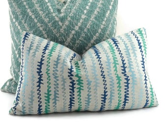Navy, Gray, & Turquoise Chevron Lumbar Throw  Pillow Cover, 12x20, Zig Zag Pillow Cover