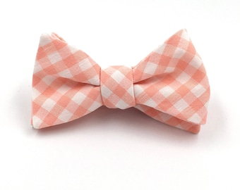 Coral Bow Tie, Mens Light Coral and White Gingham Bowtie - Traditional Self-Tie or Pre-Tied