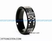 Top Quality TUNGSTEN Ring, 6MM Or 8MM CIRCUIT BOARD High Polish Black Pipe Cut Ring