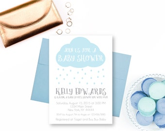 Rain Cloud Baby Shower Invitation, Raindrops, Rain drops, Shower with Love, Printable Baby Shower Invite, Rain shower, Edit Text, Editable
