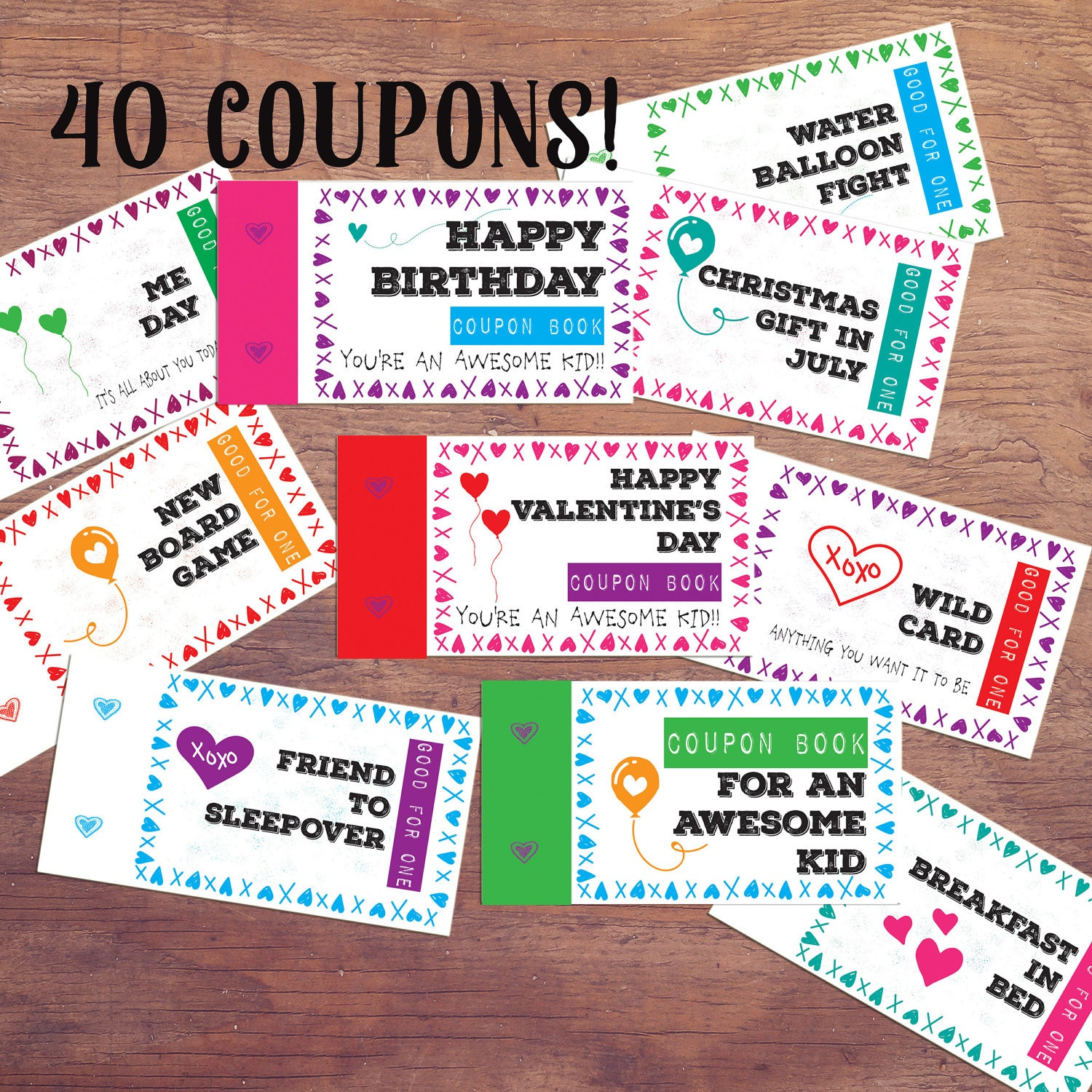 Kids Coupon Book printable DIY PDF kids Valentines Day
