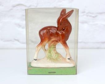 Vintage Deer Ornament, Boxed Deer Figure, Bambi Ornament, Kitsch Deer, Fawn Ornament, Ceramic Deer, Woodland Ornament, Vintage Bambi