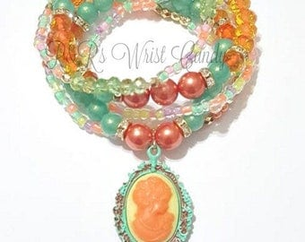 Colorful,Bright,Gold, Spring, Bracelet, Stack, Stretchy, Womens Jewelry, Boho, Handmade Custom Beaded Jewelry, Mothers Day