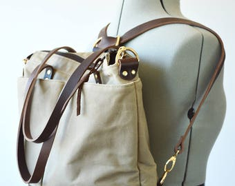 Waxed canvas backpack tote bag / Converts from backpack to shoulder bag to crossbody bag - Taupe waxed canvas and brown leather