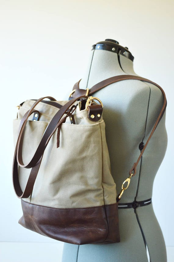 Waxed canvas backpack tote bag / Converts from backpack to