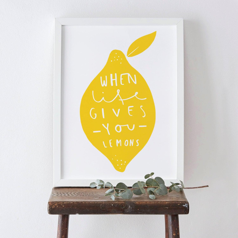 Kitchen Lemon Print A4 Home Decor Print Yellow Lemon Art