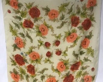 Vintage Japanese Peony Scarf Coral Russet Floral Print