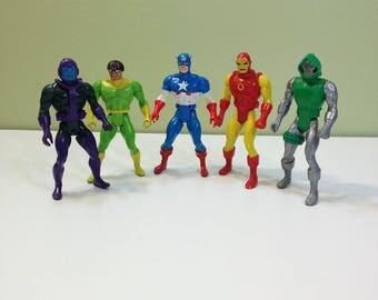 Marvel Comics Secret Wars Iron Man Captain America Doc Ock Dr Doom Kang Avengers Cartoon X-Men Heroes Action Figures Lot of Five 1980s 80s