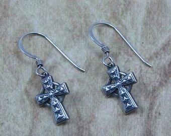 Antiqued Silver Cross Earrings on Sterling Silver Ear Wires, Celtic Cross Earrings, Christian Jewelry, Cross Jewelry