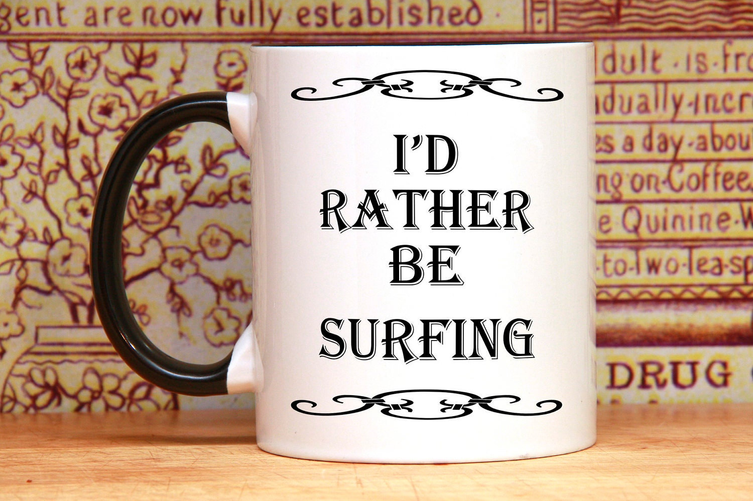 Surf coffee mug, mug for surfers, surfing coffee mugs, surfer coffee mugs,