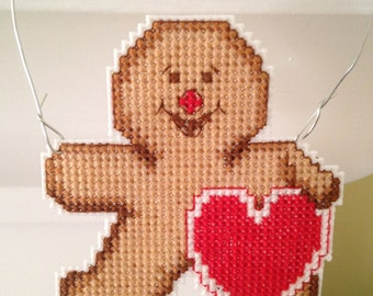 New Gingerbread Man with Heart Christmas Cross Stitch Ornament