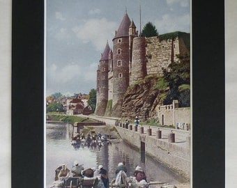 1920s Antique French Print of Josselin Castle, Available Framed, France Art, River Oust Picture, Laundry Decor, Washer Woman, Brittany Gift