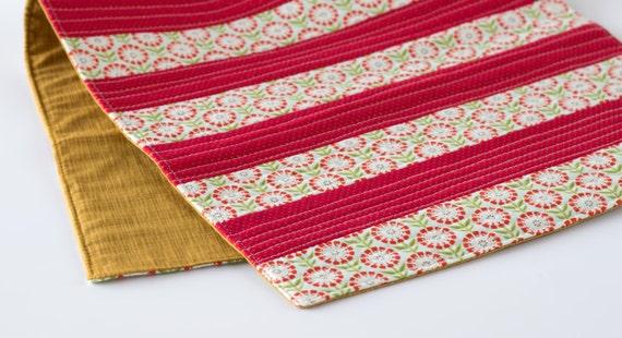 Red Floral Table Runner, Red Striped Runner, Christmas Runner, Red, Green, Light Blue, and Gold Cotton Fabrics, Handmade