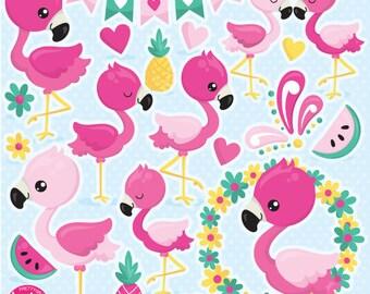 80% OFF SALE Flamingo clipart commercial use, Flamingo vector graphics, flamingos digital clip art, bird digital images  - CL1059