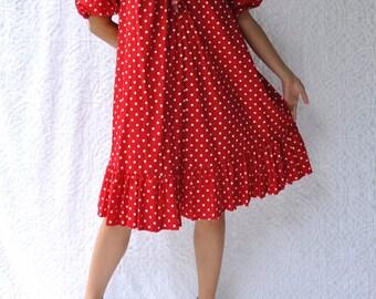 David Brown Red Polka Dot Tent Dress with Ruffles & Pockets || Mod Valentines Day Party Dress. Retro Parachute Pin Up Dress. 80s Midi Caftan