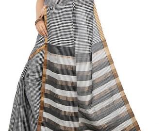 Black and Cornsilk Color Mangalagiri Cotton saree with Blouse