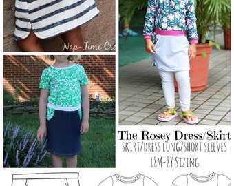 The Rosey Dress and Skirt: a fun dress and skirt sewing pattern for girls