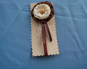 Girl's Fabric Flower, Brown and Cream Headband