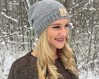 Slouchy Knit Beanie // Winter Hat // Leather Patch // Hand Knitted Slouchy Beanie // Slouch Winter Hat // Made To Order // Custom Color