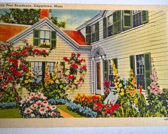 Antique Emily Post Residence Postcard --- Vintage Edgartown Massachusetts Souvenir Mail --- Colorized Beautiful Garden Home Decor Photograph