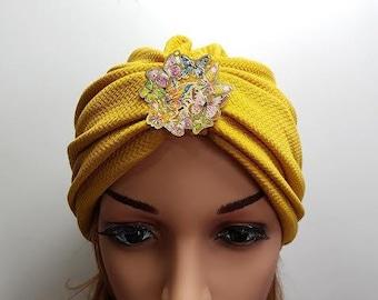Mustard Yellow Fashion Turban , Head Wrap , Ladies Turban Hat , Womens Turban , Turban Headband , Cotton Turban , Full Turban