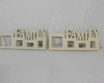 2 Pieces of Family Wood Photo Frames 12 X 5 inches