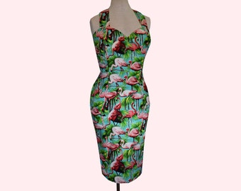 Flamingo Dress Wiggle Pin Up Pencil Skirt 1940s 1950s style with Bow Hawaiian party kitsch retro - Made to measure in lots of colours!