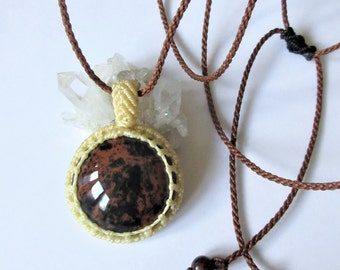 Tiger Obsidian Threads Beige and Brown Pendant handmade with natural Tiger Obsidian stone cabochon 29mmX29mm