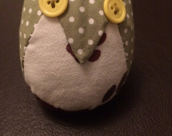 Hand sewn fabric owl ornament