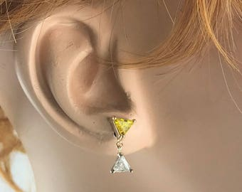 Vintage Yellow Trillion Diamond / White Trillion Diamond Dangle Earrings - 14 karat yellow and white gold