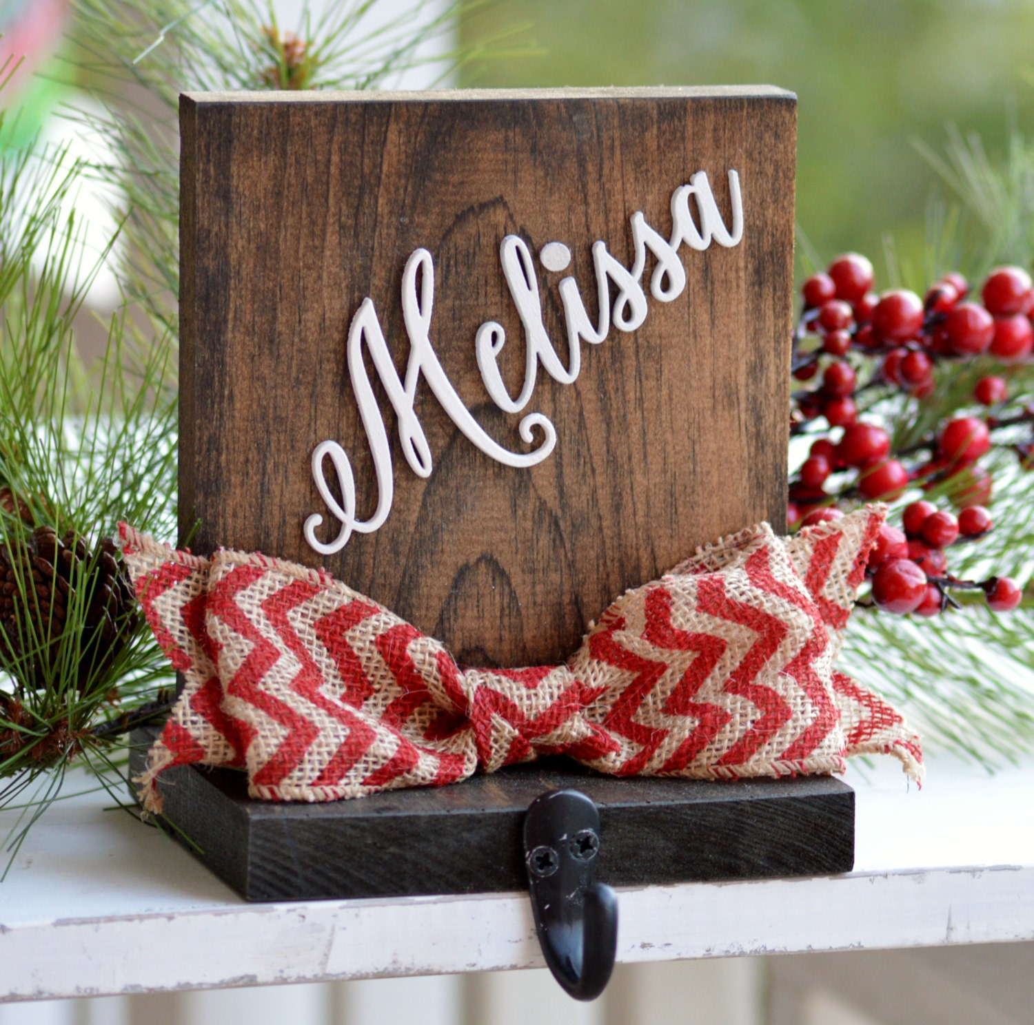 Personalized stocking holder wood for mantle