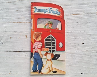 Jimmy's Trucks Book . 1953 . Whitman Shape Book . Vintage Truck Book . Die Cut Paperback . 1950's Children's Book . 50's Retro Kid's Story