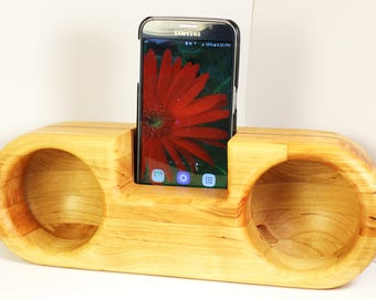 Wood speaker, electricity-free music and sound amplifier, cell phone dock, wooden passive double speakers, gift for men