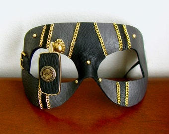 Steampunk Mask, Black and Grey Leather, Gold Monocle - The Grey Friar