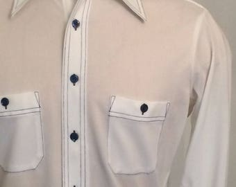 Vintage MENS 1970s Marshall Field & Company long sleeve white knit shirt