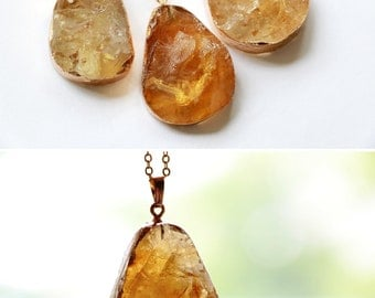 Citrine necklace, Raw citrine necklace, Citrine slice necklace, Raw crystal necklace, Natural Citrine pendant, Citrine statement necklace