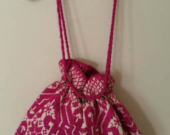 Pink Wool Kilim Purse, Made in Greece, Chartreuse Woven Purse, Cinch Drawstring Bag, Slouchy Boho Bucket Bag