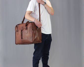 The Vagabond Family Bag: vintage style brown leather diaper holdall duffle duffel bag carry on flight luggage mens baby nappy