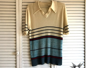 Vintage 1960's/70's Striped, Collared Short Sleeve Sweater Size Medium