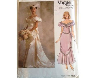 "UNCUT Vintage 80's Vogue Bridal Original Sewing Pattern #1828 Wedding Evening Bridesmaid Dress Gown Size Bust 34"" UK 12"