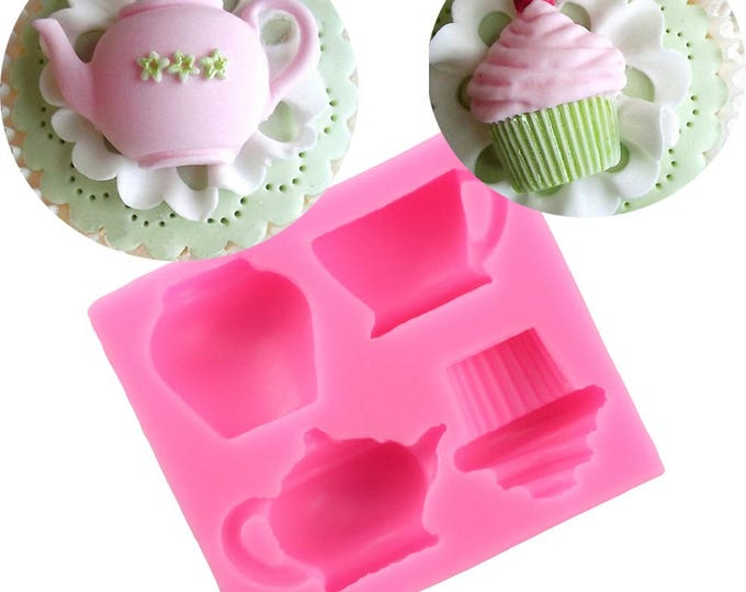 Tea Party Silicone Mold - XL104 - Baking Fondant Happy Birthday Party Teapot Teacup cup Cupcake Alice in Wonderland Mad Hatter Drink Me