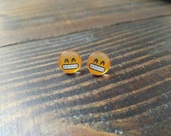 Smiley Face Emoji Glass Cabochon Stud Earrings - 12mm