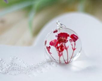 Red Flower Necklace - Gypsophila Orb - Baby Breath Necklace , Gifts for Her , Pressed Flower Necklace , Bridal Jewellery , Resin Jewelry