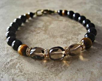 Smoky Quartz, Black Onyx, Tiger Eye, Men's Bracelet, Men's Jewelry