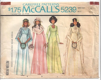 McCalls 5239 Pattern for Misses' Bride & Bridesmaid Dress, Size 10, From 1976, Vintage Pattern, Home Sewing Pattern, 1976 Wedding Sewing