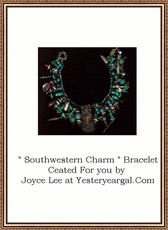 Southwestern Charm  Turquoise Charm Bracelet