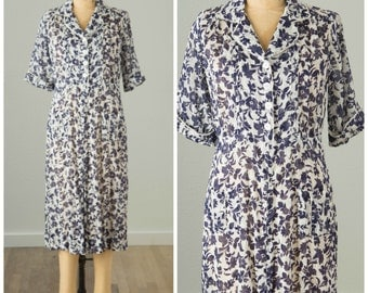 1920s Blue and White Floral Day Dress